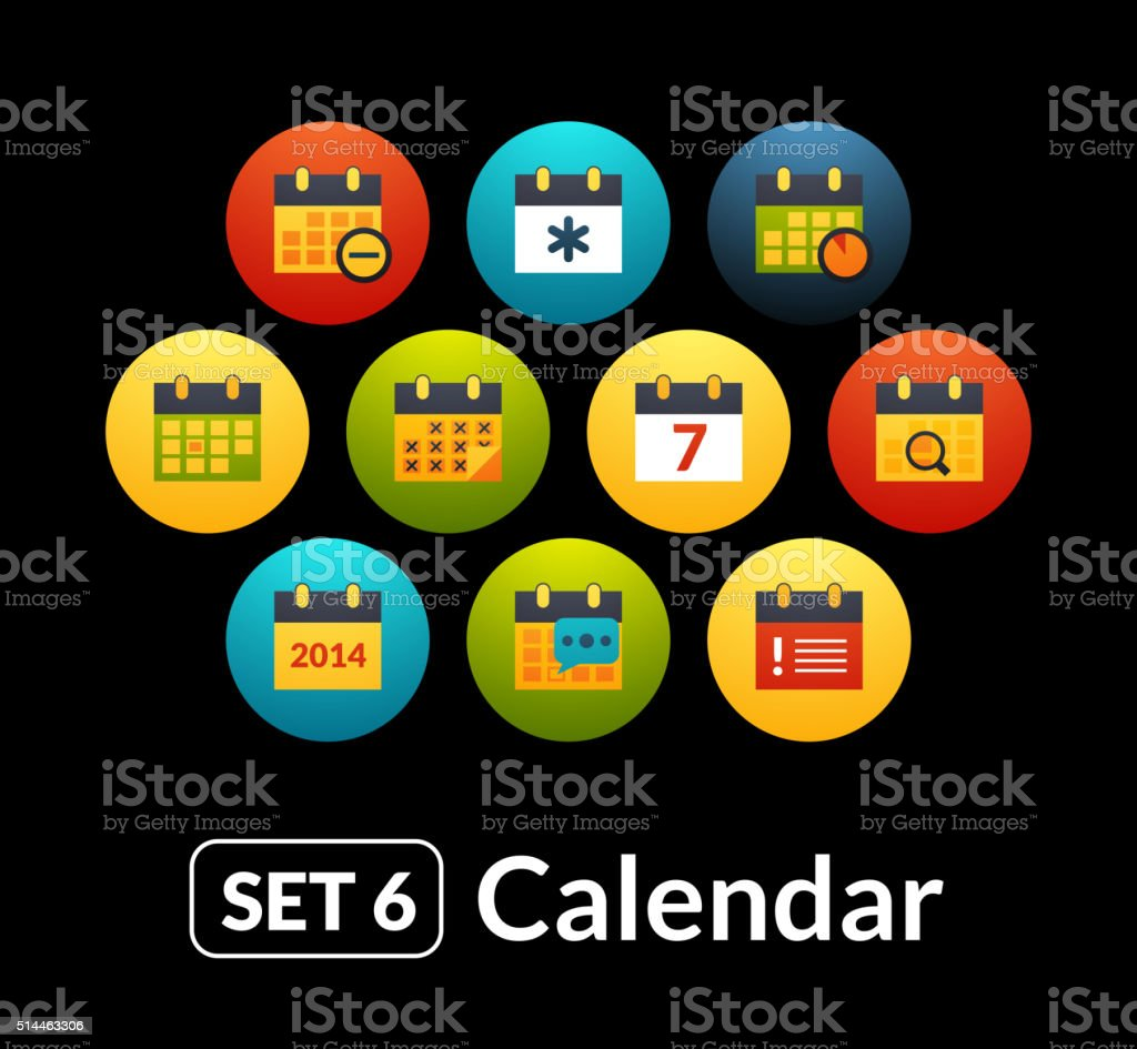 Flat icons vector set 6 - calendar collection vector art illustration