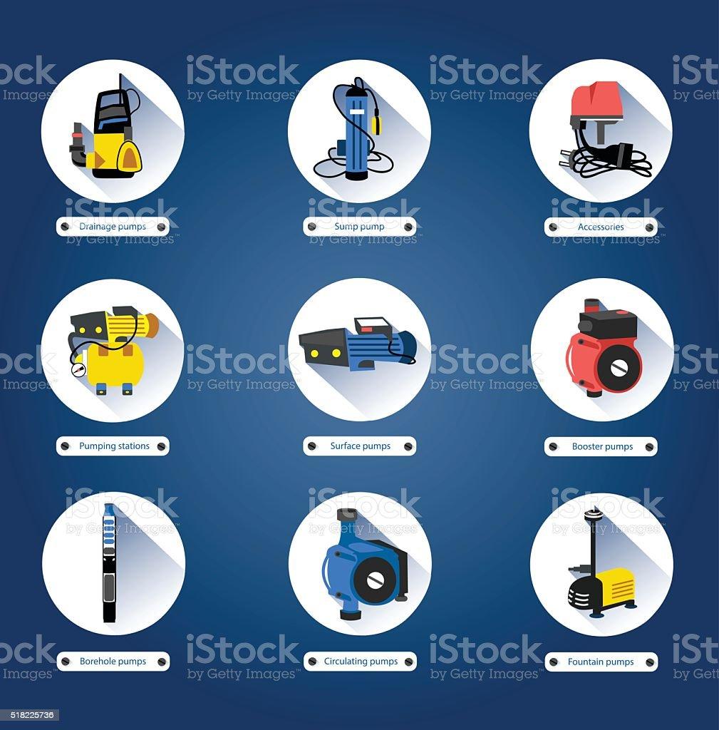 Flat icons. Water pumps vector art illustration