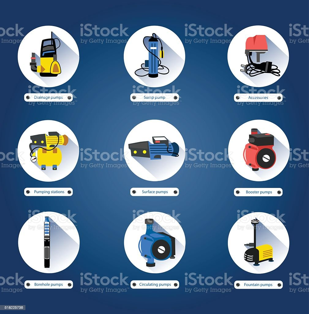 Flat icons. Water pumps vector art illustration