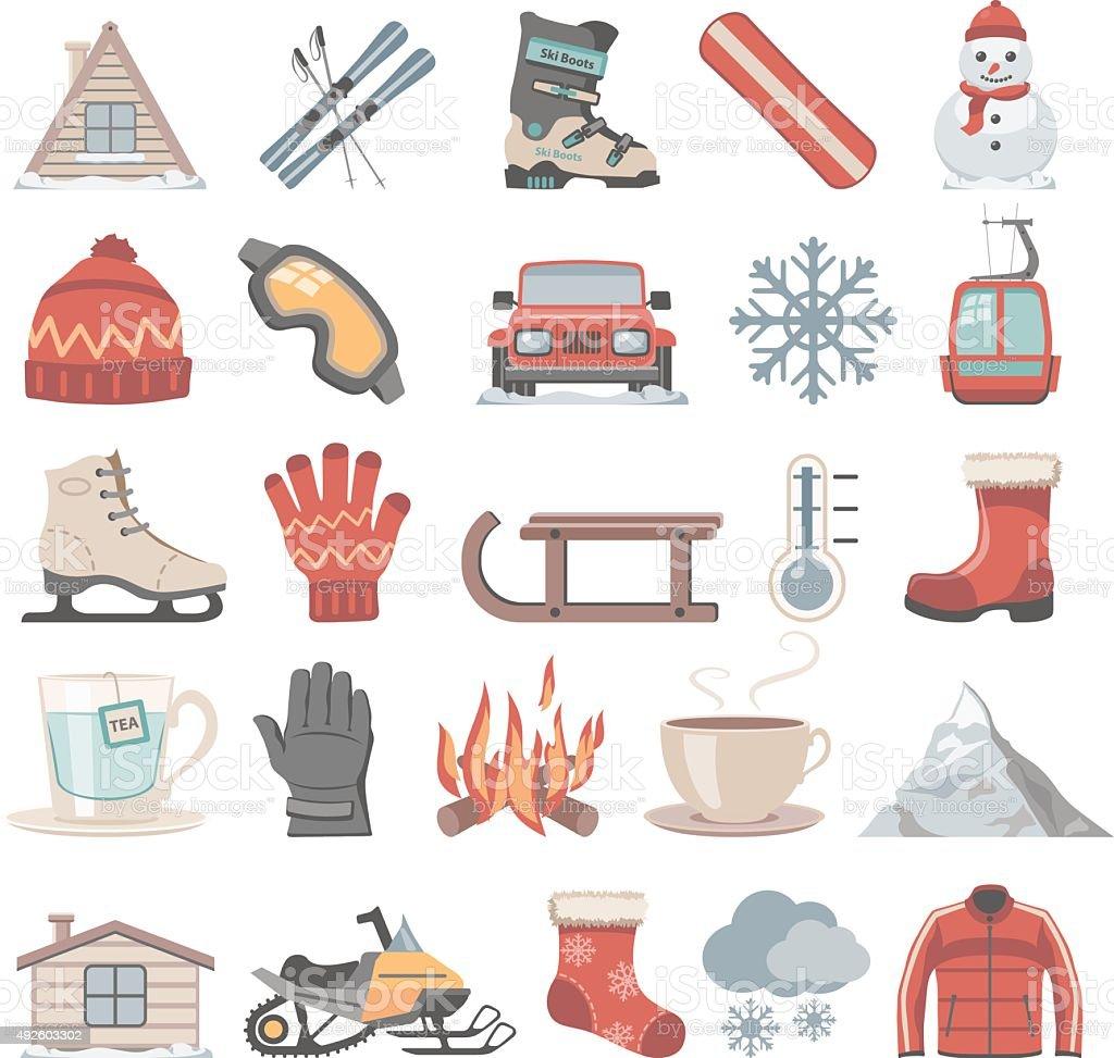 Flat Icons - Winter vector art illustration