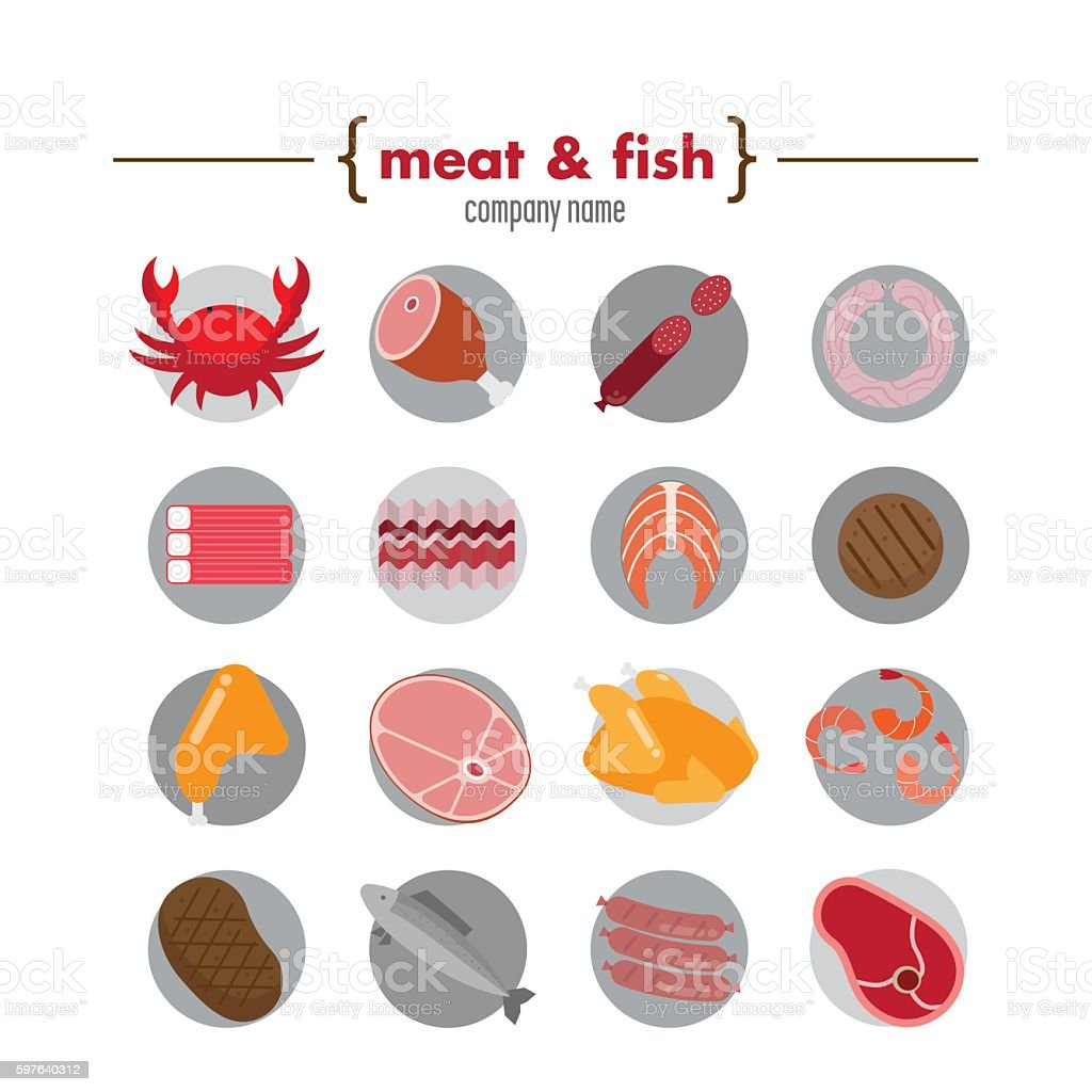 Flat icons with meat and fish vector art illustration