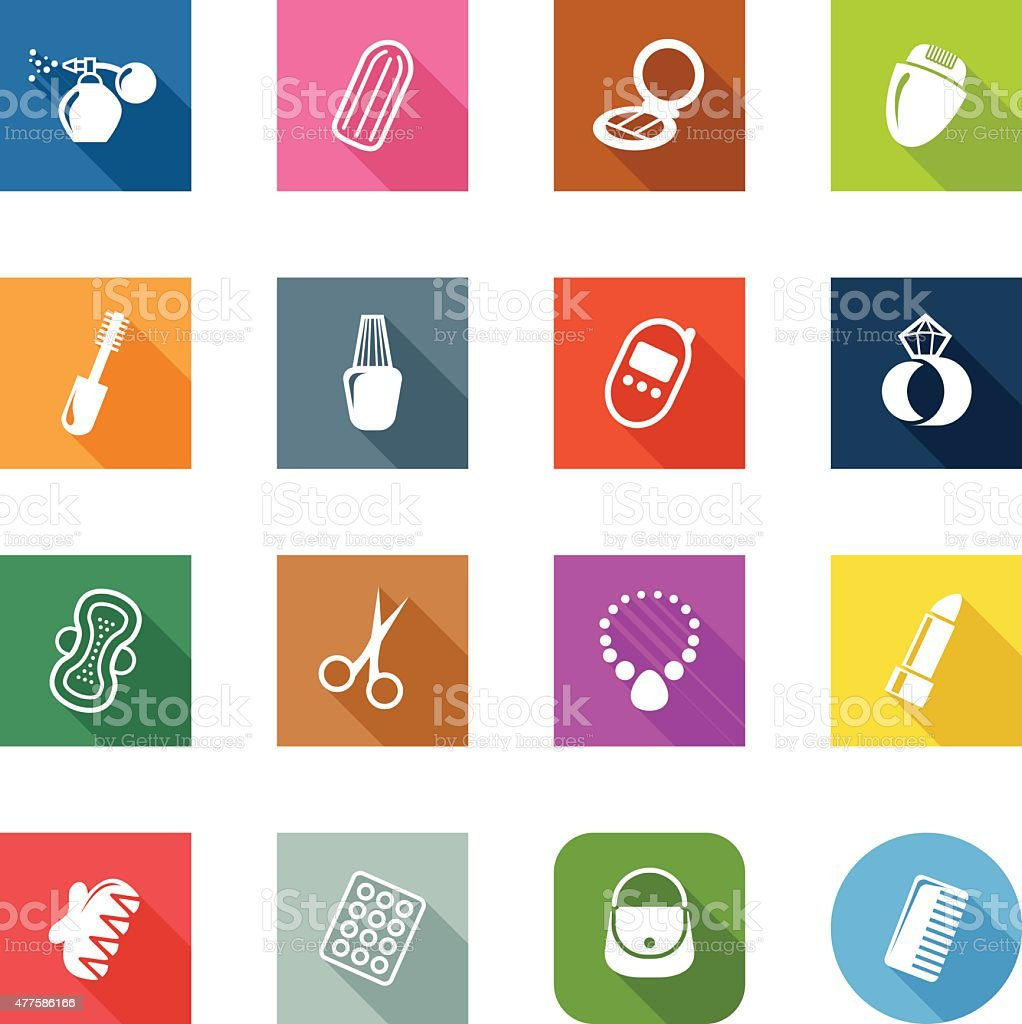 Flat Icons - Woman's Accessories vector art illustration
