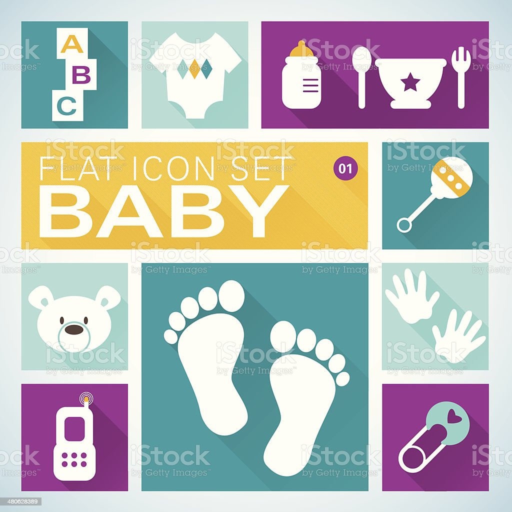 Flat icons1 Baby Boy vector art illustration