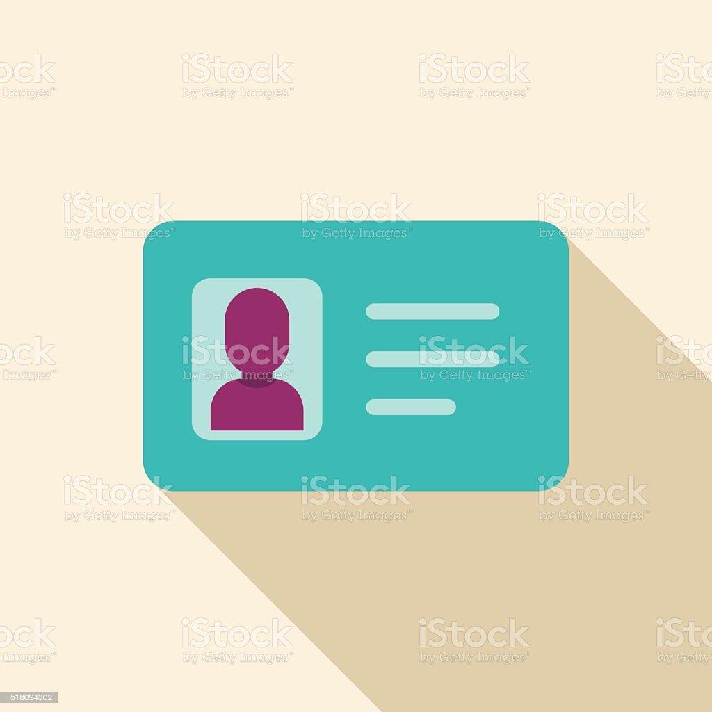 Flat Identification card icon vector art illustration