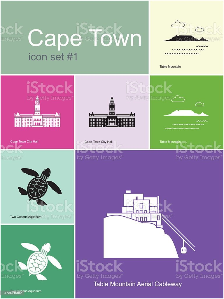 Flat illustration icons of Cape Town landmarks and scenery vector art illustration