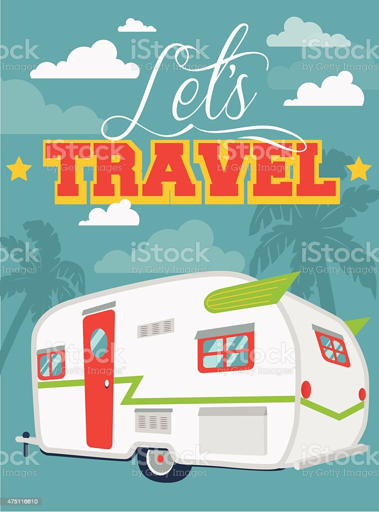 Flat illustration Let's Travel with clouds and palms vector art illustration