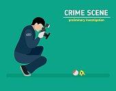 Flat illustration. Murder investigation