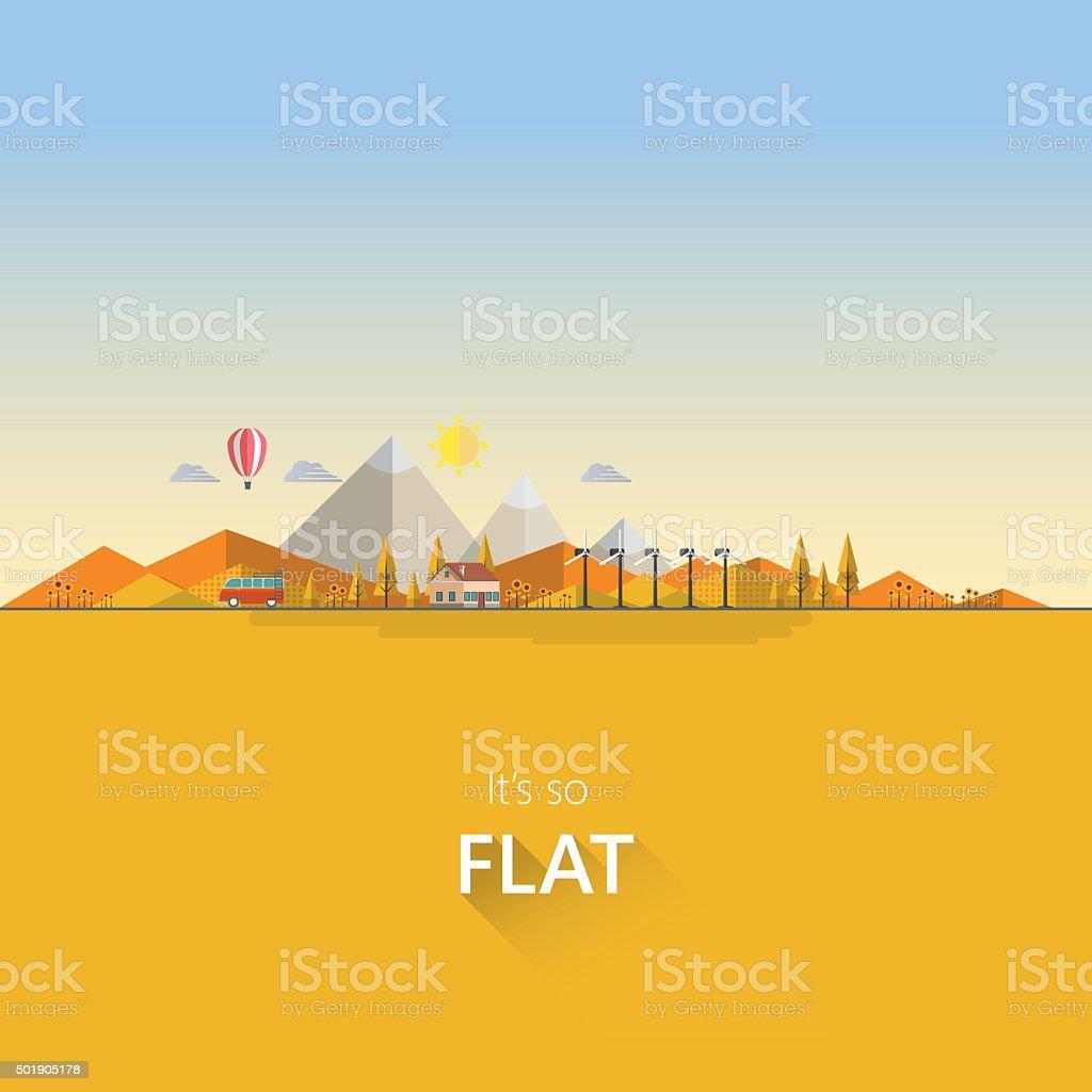 Flat illustration of ecology landscape, in autumn. vector art illustration