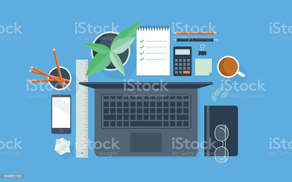 Flat illustration of neatly organized workspace vector art illustration