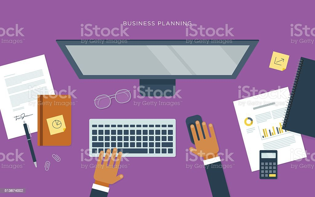 Flat illustration of person at desk with computer, business planning vector art illustration