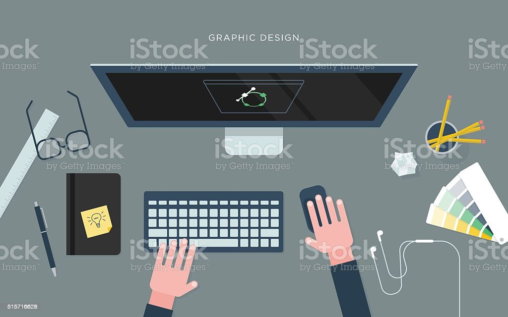 Flat illustration of person at desk with computer, graphic design vector art illustration