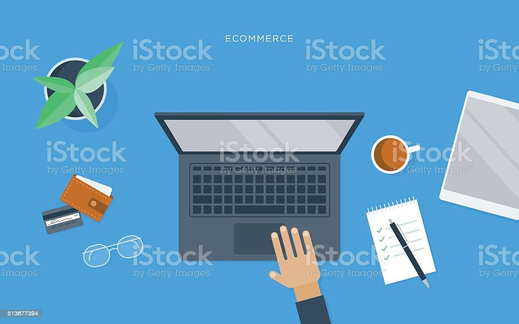 Flat illustration of person at desk with laptop, ecommerce vector art illustration