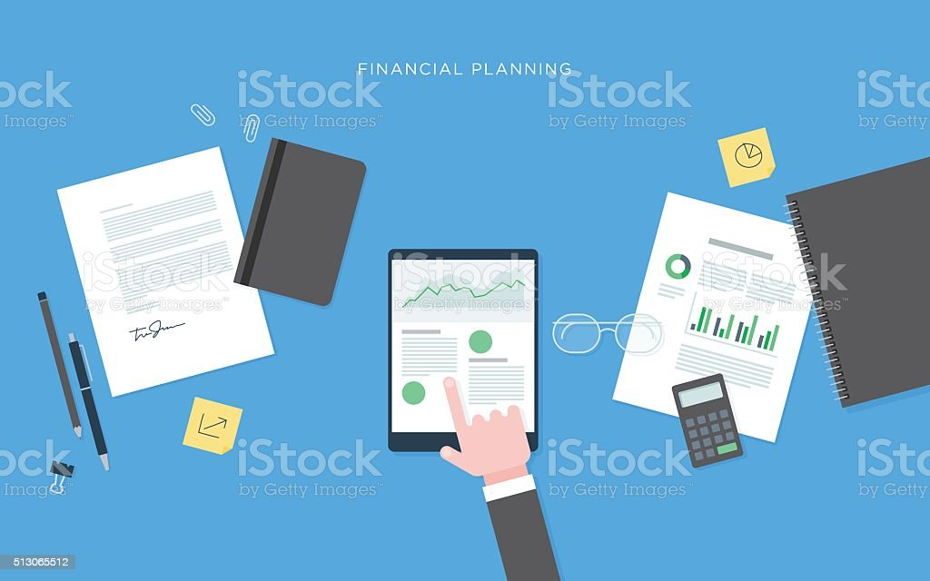 Flat illustration of person at desk with tablet, financial planning vector art illustration
