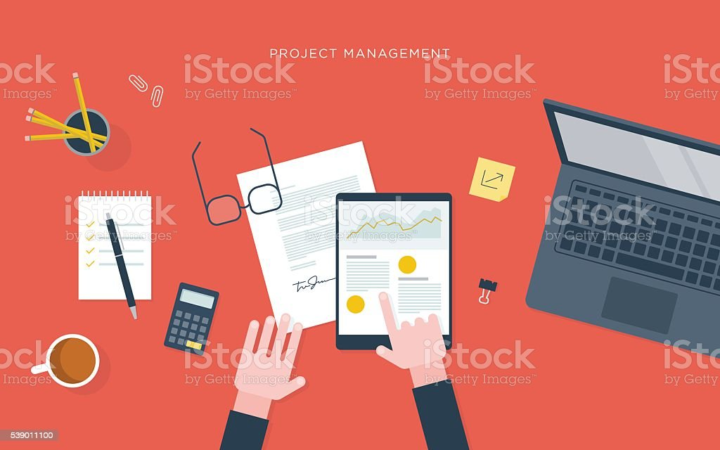 Flat illustration of person at desk with tablet, project management vector art illustration