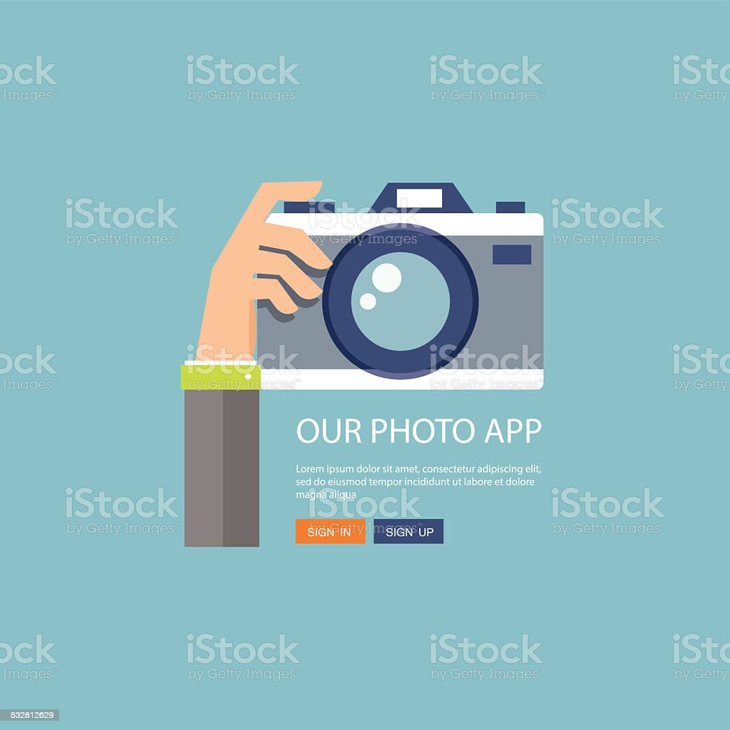 Flat illustration of photo camera with hand holding it vector art illustration