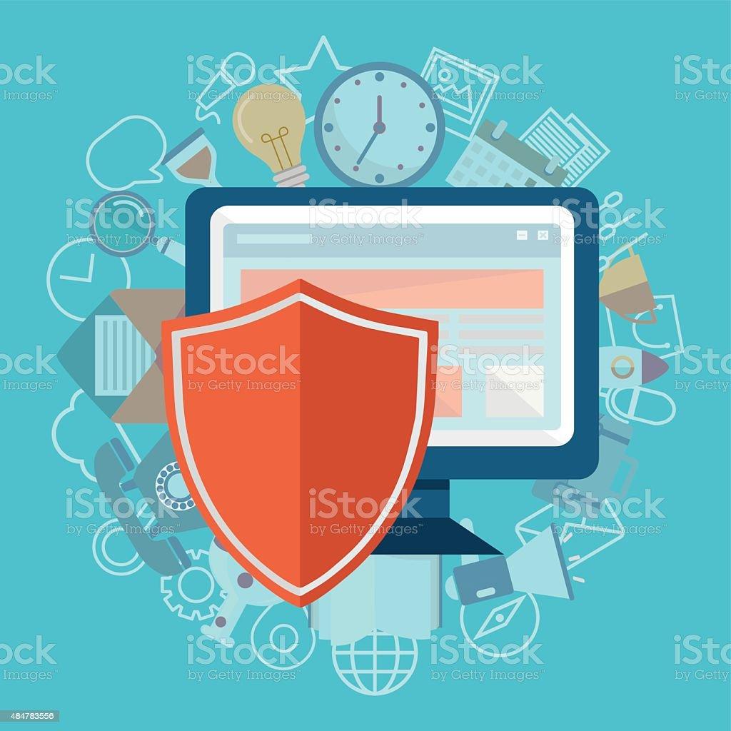 Flat illustration of security center. Shield defend vector art illustration