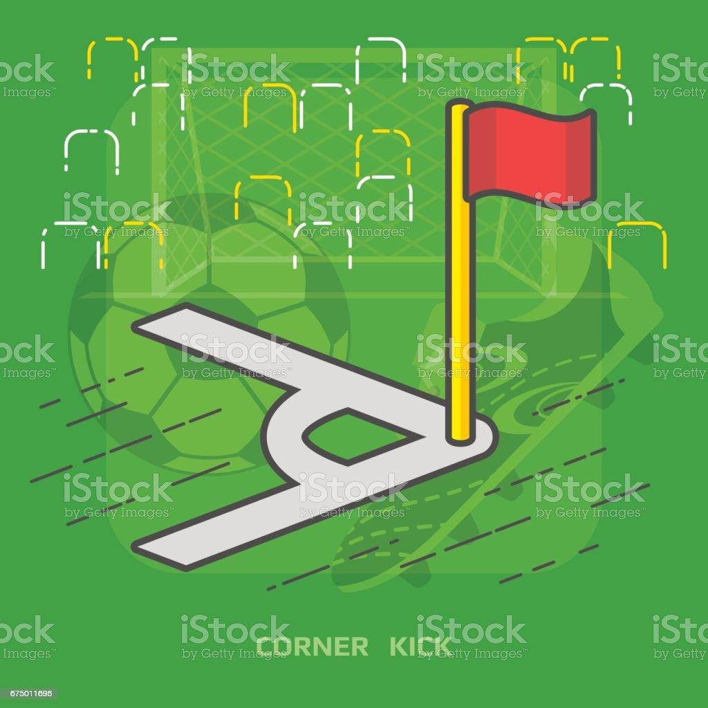 Flat illustration of soccer pitch corner with flag vector art illustration