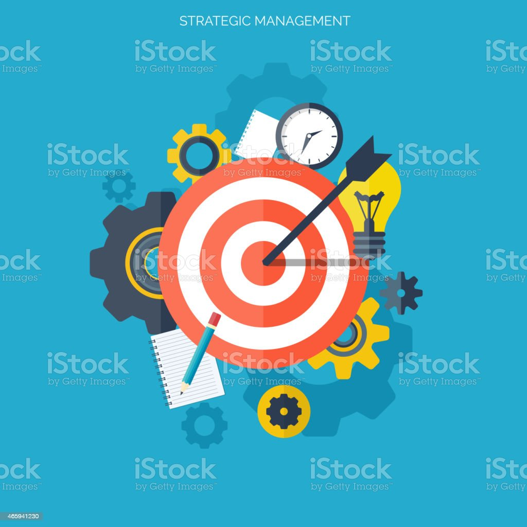 Flat illustration of target with arrow and idea graphics vector art illustration