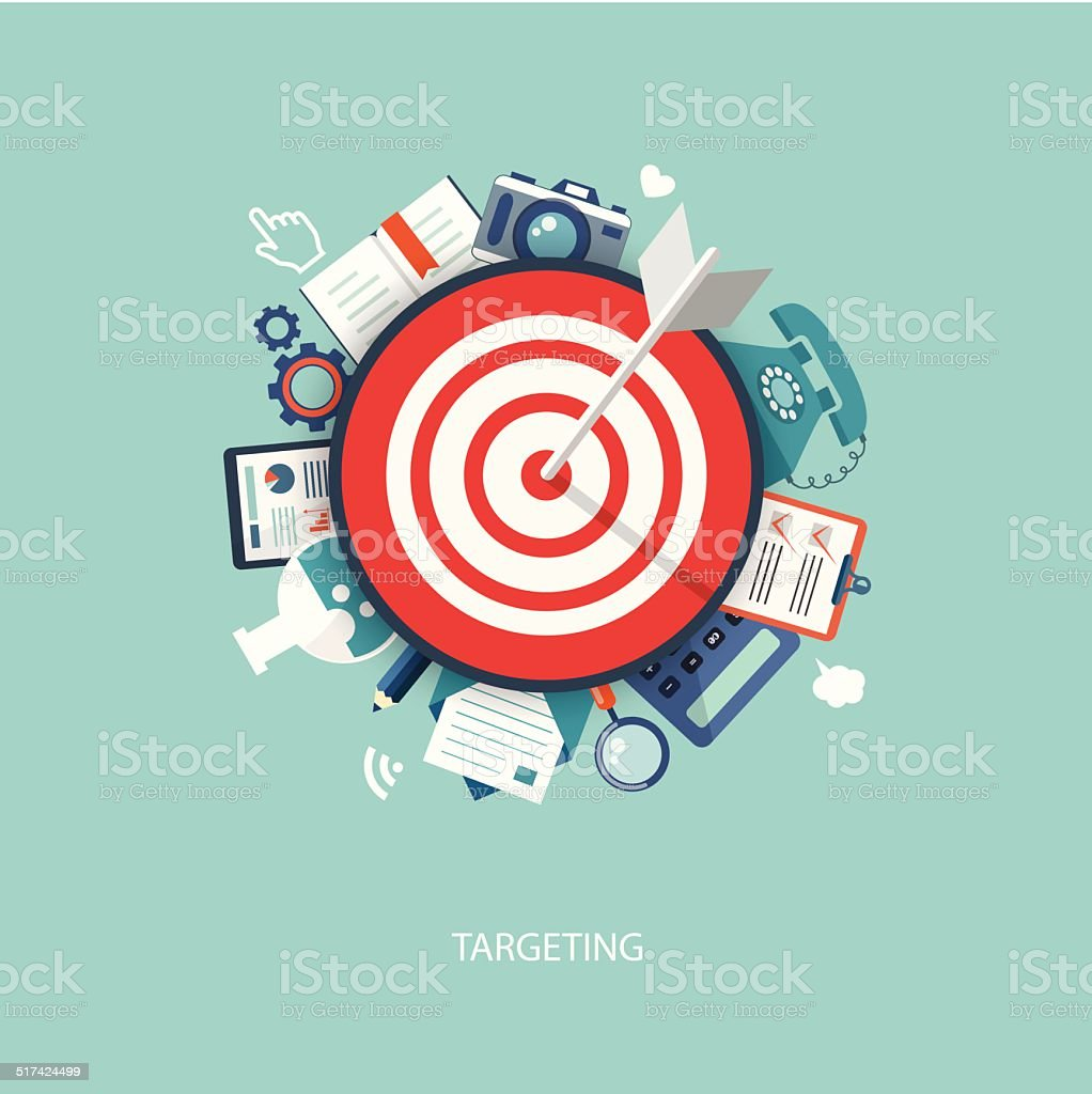 Flat illustration of targeting and time management with icons vector art illustration