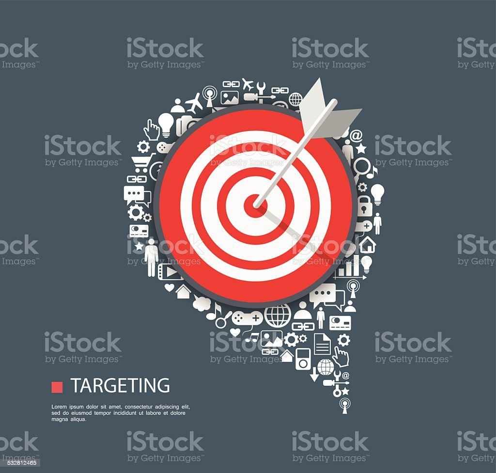 Flat illustration of targeting with icons vector art illustration