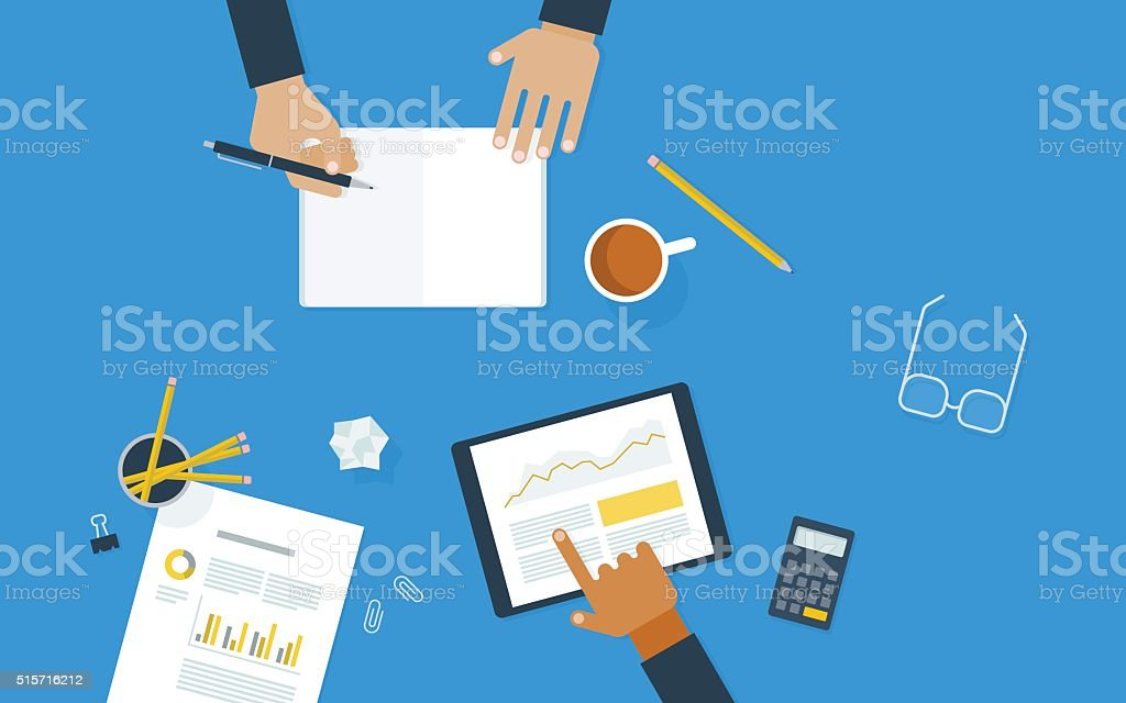Flat illustration of workers collaborating at desk vector art illustration