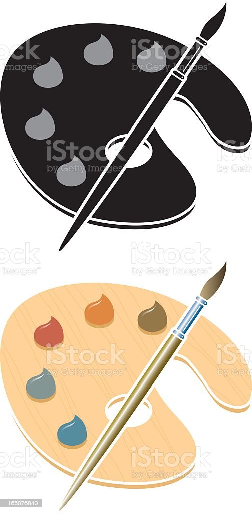 Flat illustrations of painting palettes vector art illustration