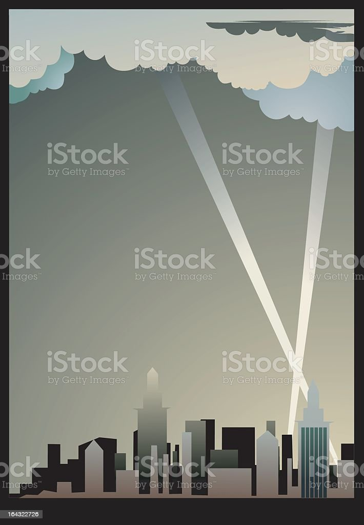 A flat image of cityscape background vector art illustration