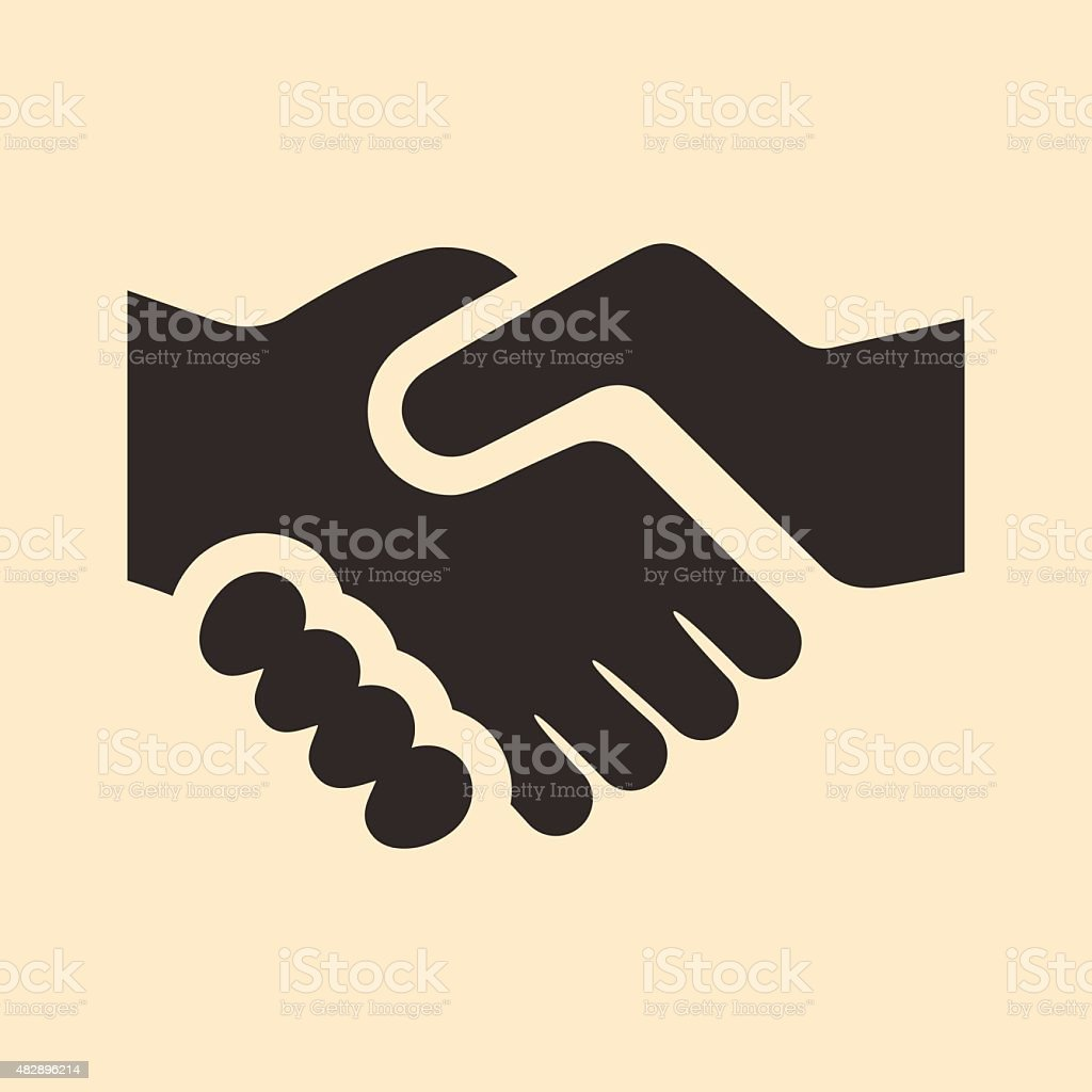 Flat in black and white mobile application handshake vector art illustration
