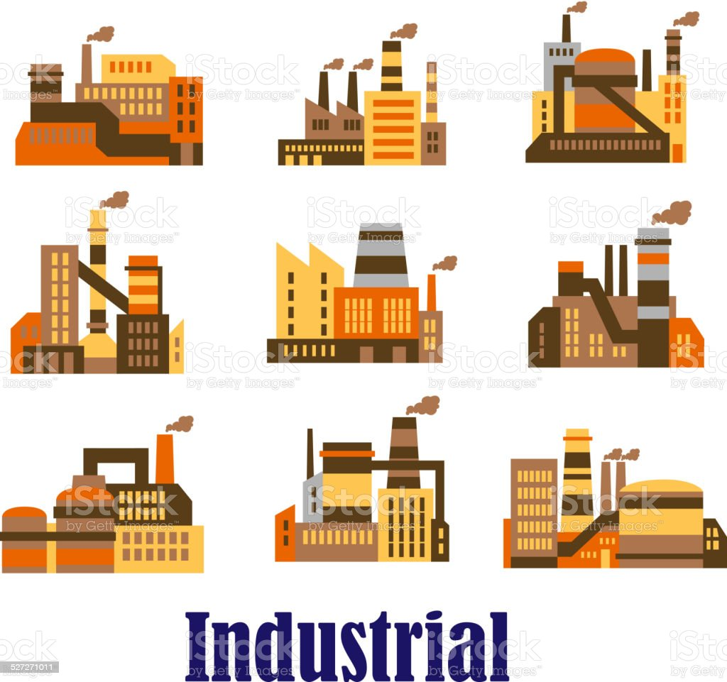 Flat industrial icons of plants and factories vector art illustration