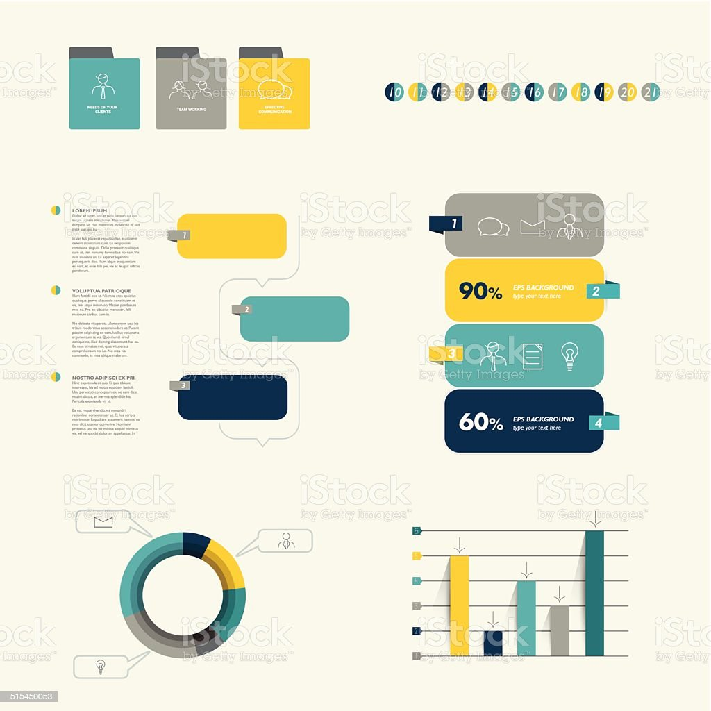 Flat infographic collection. vector art illustration