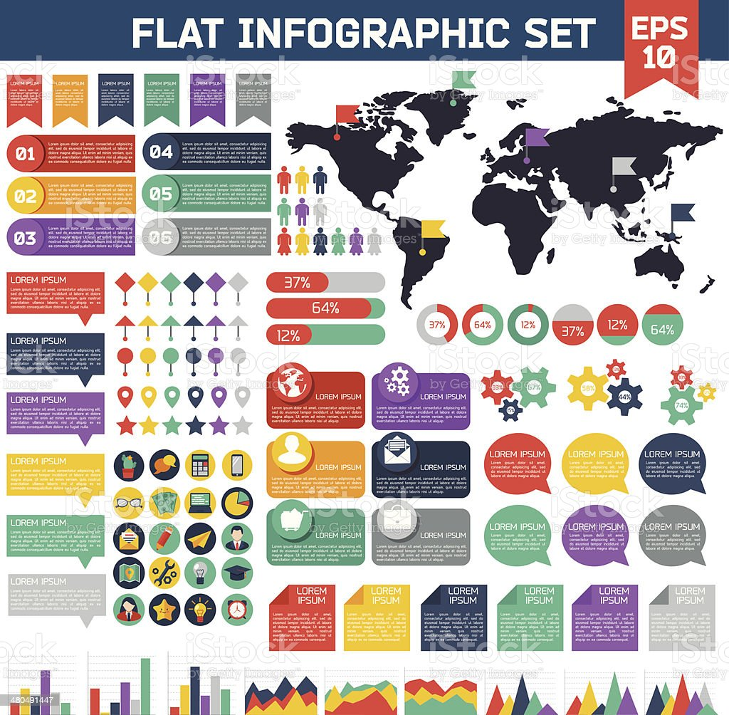 Flat infographic elements set. vector art illustration