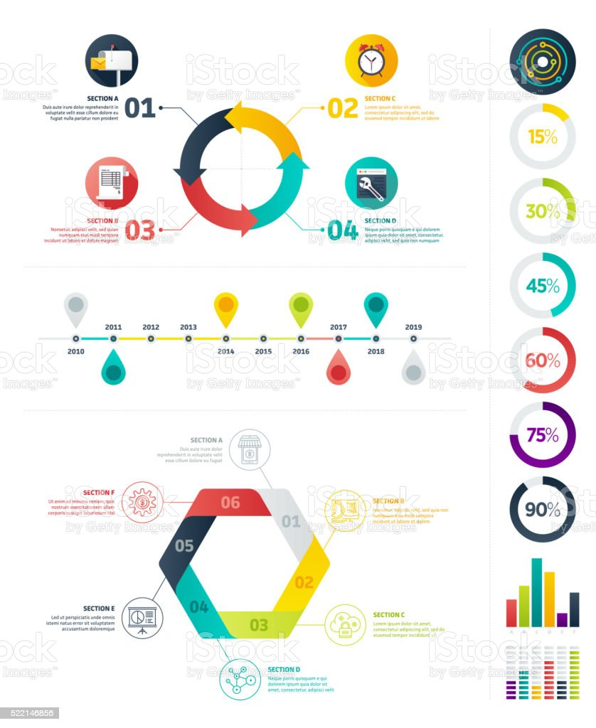 Flat Infographic Elements vector art illustration