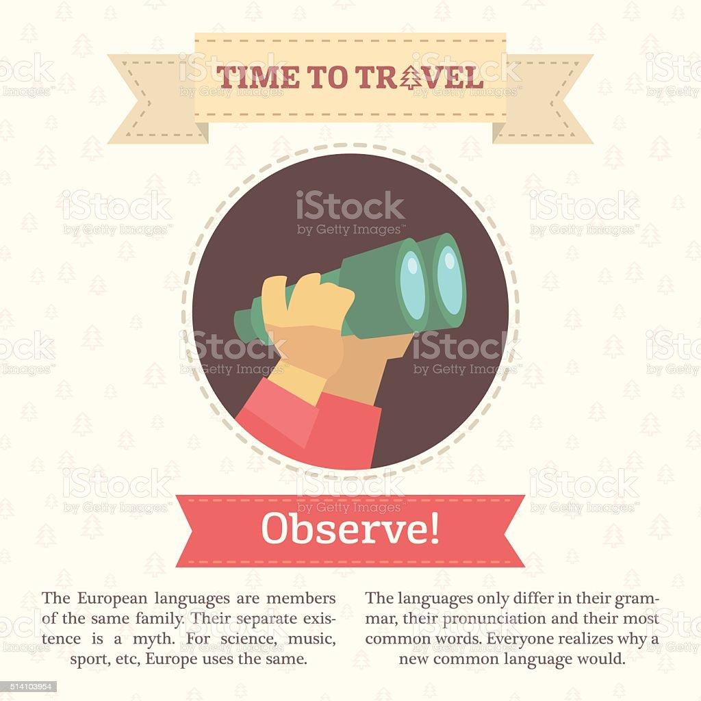 Flat infographic vector illustration of hands holding binoculars. vector art illustration