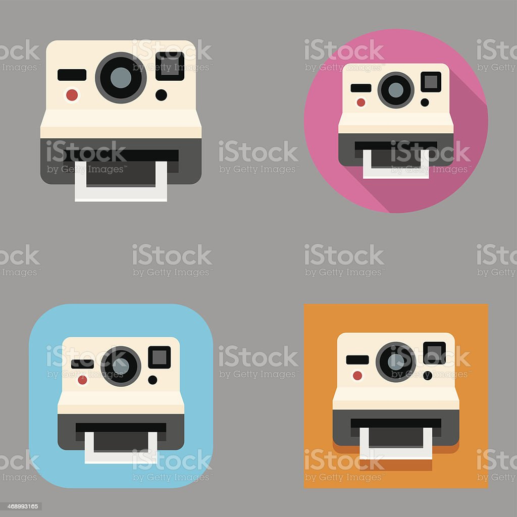 Flat Instant Camera icons | Kalaful series vector art illustration