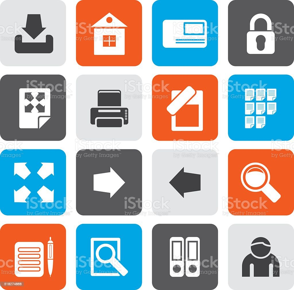 Flat Internet and Web Site Icons vector art illustration