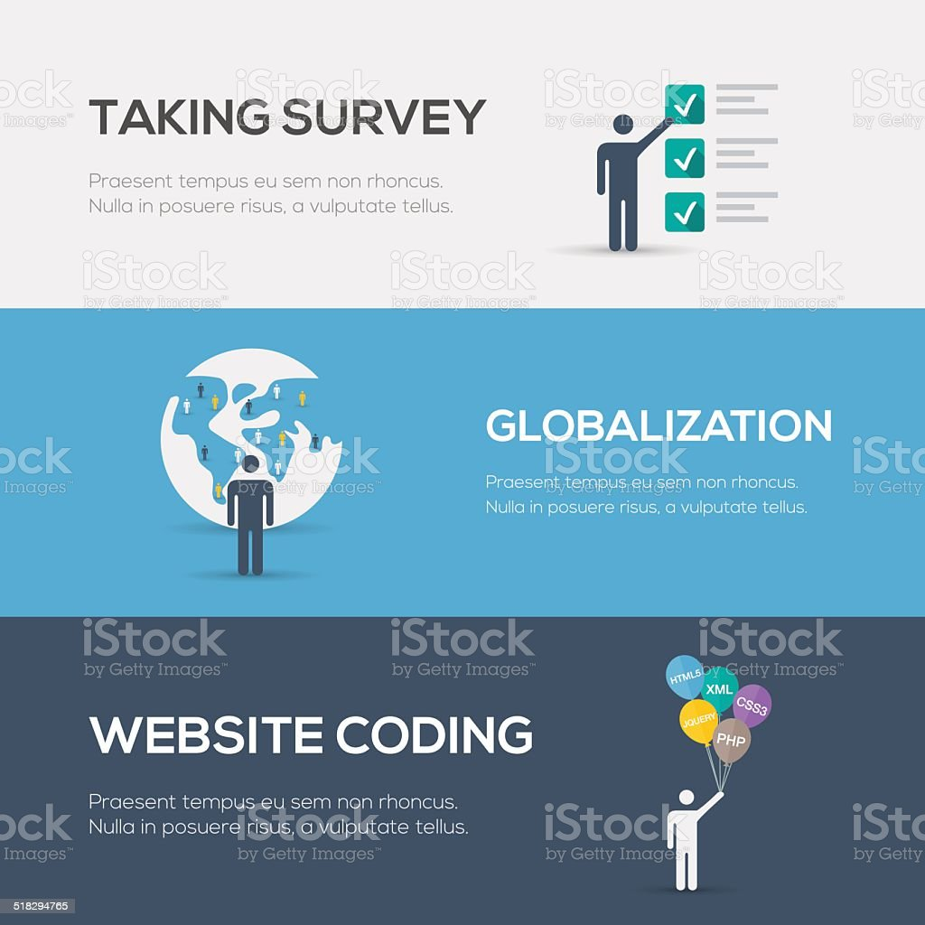 Flat internet concepts. Website coding, globalization and survey. vector art illustration