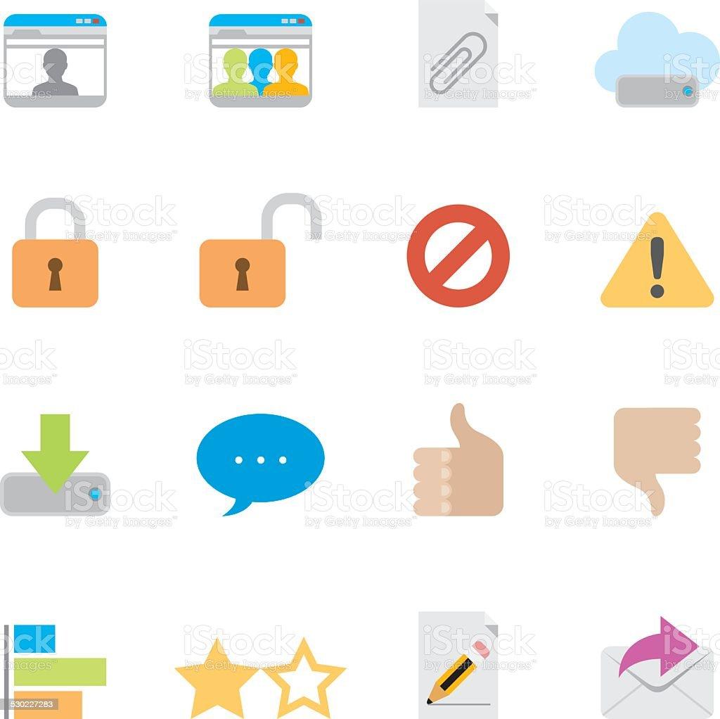 Flat Internet icons | Simpletoon series vector art illustration