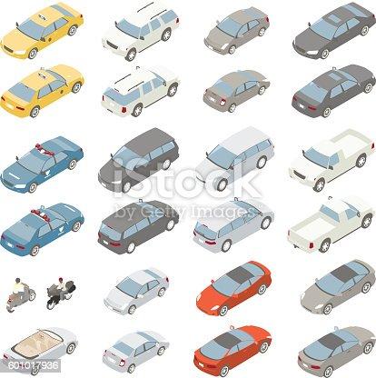 Flat Isometric Cars Vector