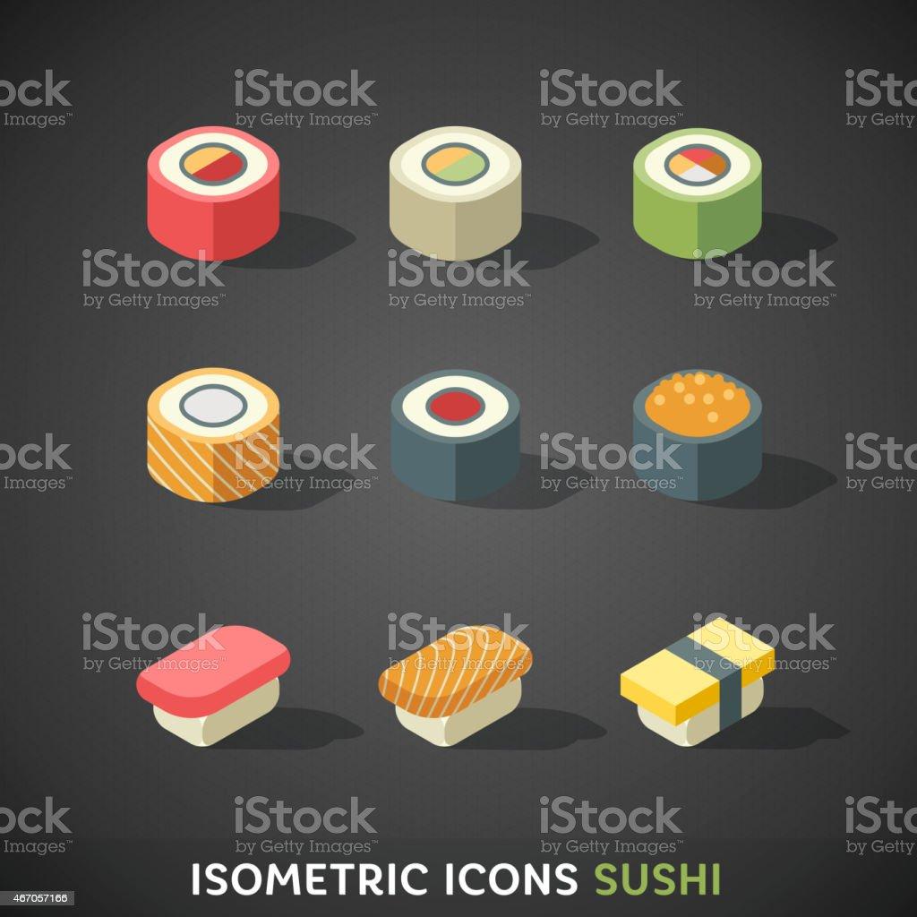 Flat Isometric Icons Sushi vector art illustration