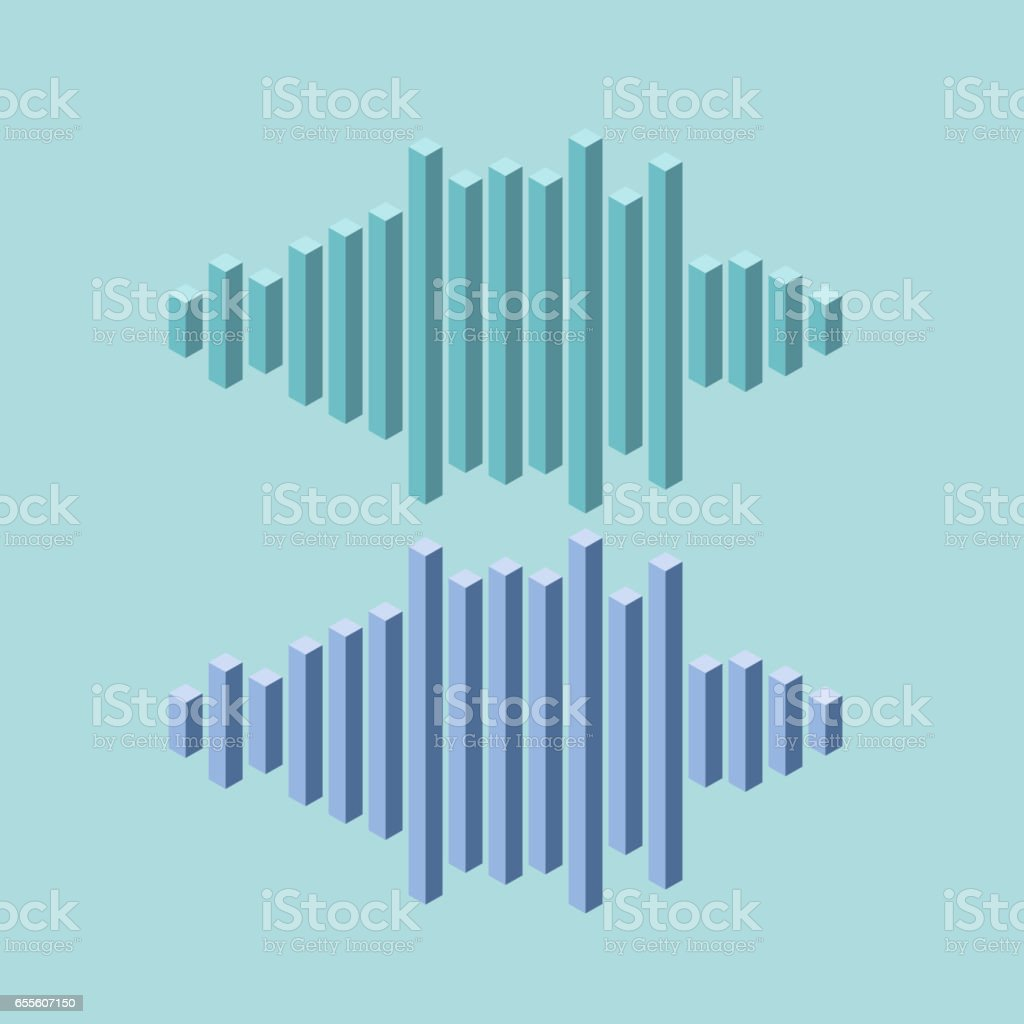 Flat isometric music wave icon made of peak lines vector art illustration