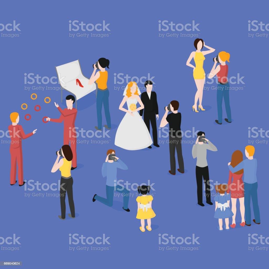 Flat isometric set of photographers. Wedding, family and kids photography. Paparazzi, journalist. Fashion, reportage and advertising photographer. vector art illustration