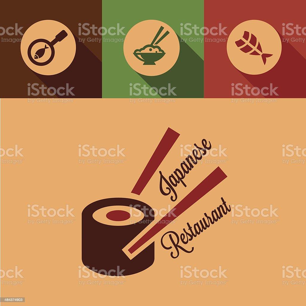 flat japanese restaurant icons vector art illustration