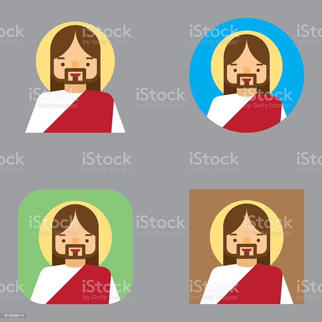 Flat Jesus Christ Avatar icons | Kalaful series vector art illustration