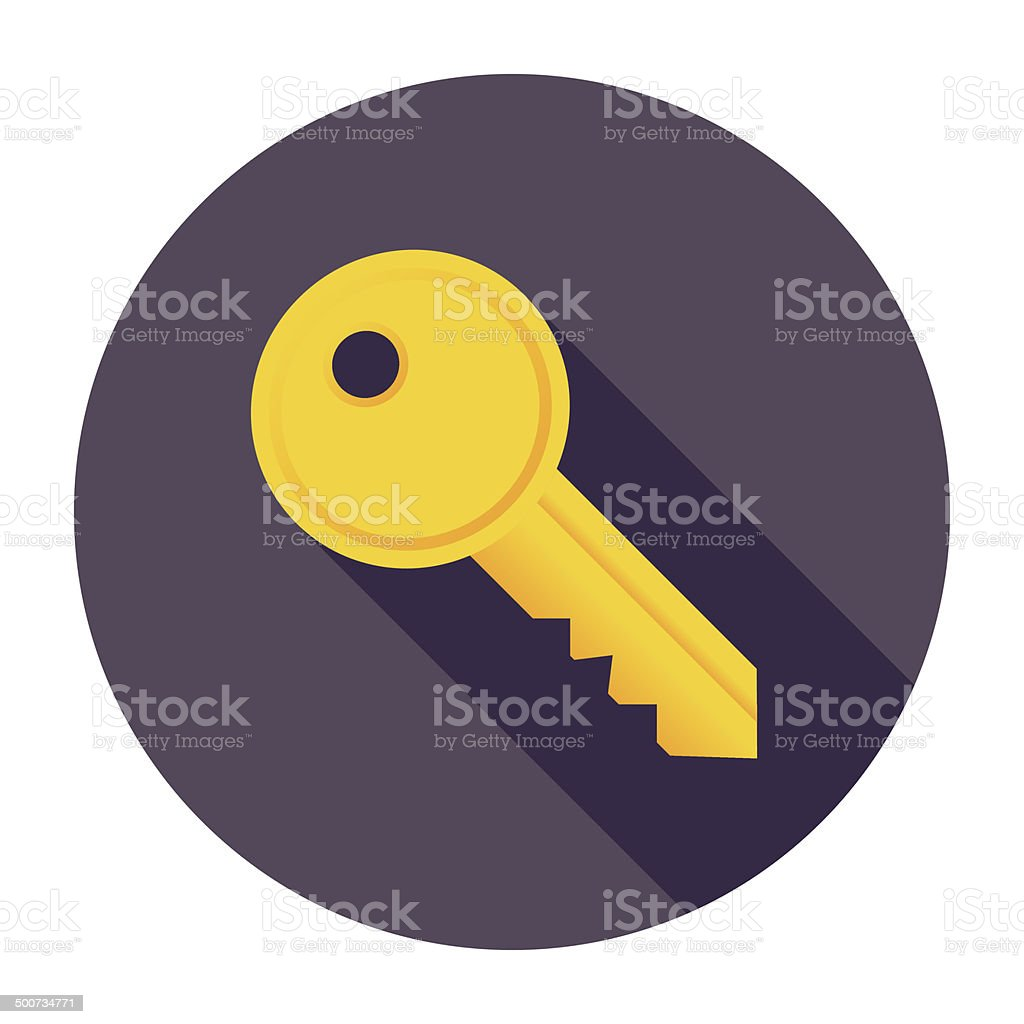 Flat Key Icon vector art illustration