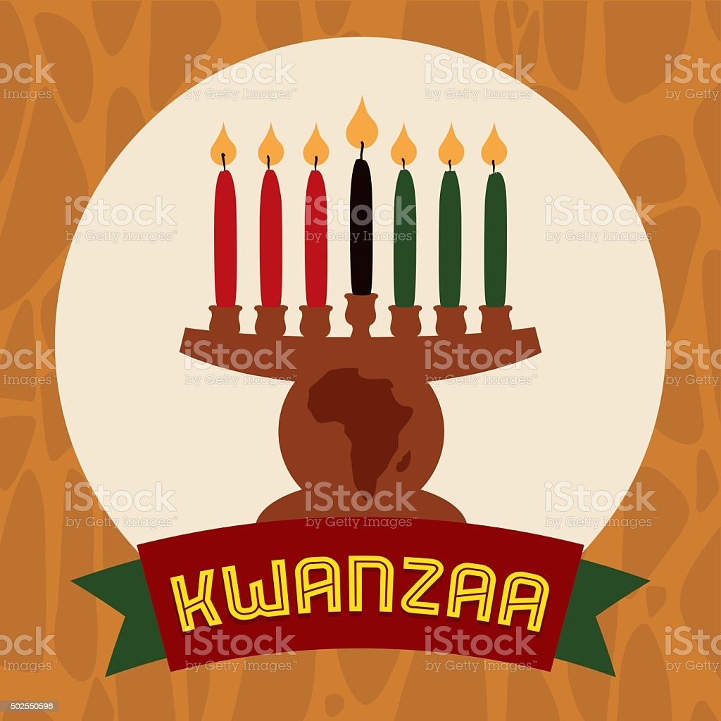 Flat Kinara Icon with Lighted Candles and Ribbon vector art illustration