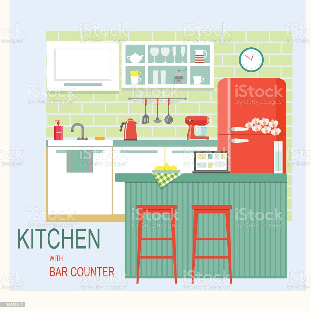 flat kitchen interior with bar counter. vector illustration vector art illustration