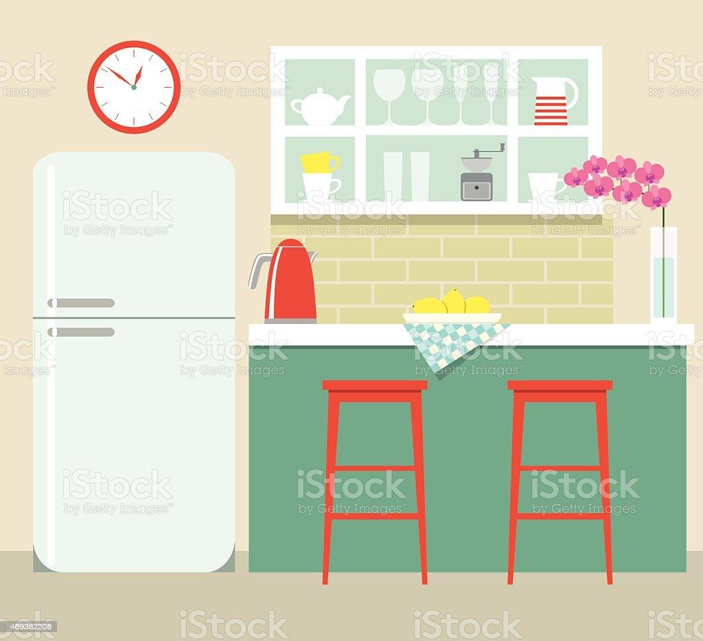 flat kitchen retro vector art illustration