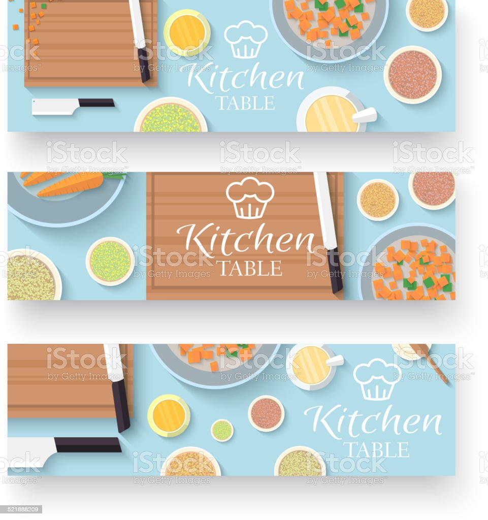 flat kitchen table for cooking in house vector banners vector art illustration