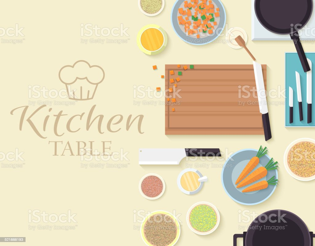 flat kitchen table for cooking in house vector illustration vector art illustration