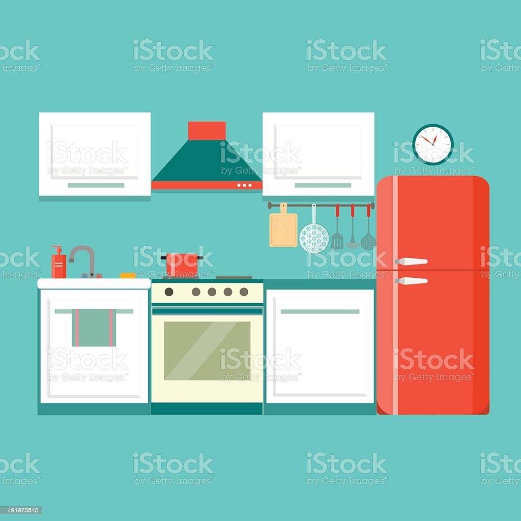 flat kitchen. vector illustration vector art illustration